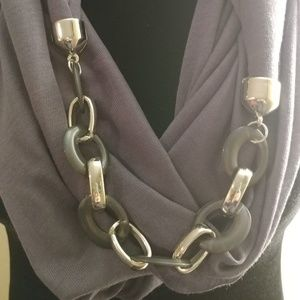 Accessories - Infinity Scarf Charcoal Grey w/ Link Chain
